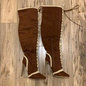 NWOT Brown Lace Up Thigh High Boots Size 7.5
